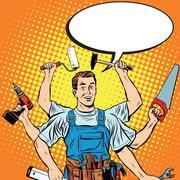 Multi-armed master repair professional Stock Illustration