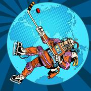 Astronaut plays hockey over planet Earth - stock illustration