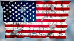 Torn flag USA against the sky Stock Footage