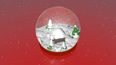 Incredibly beautiful snow globe with a house within - stock footage