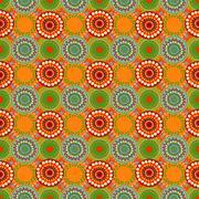 Seamless vintage retro pattern orange textile - stock illustration