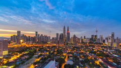 Time lapse of Kuala Lumpur skyline at sunrise overlooking city highway.4K.Center Stock Footage