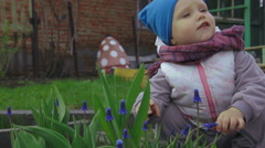 Little baby girl smells a blue flower Stock Footage