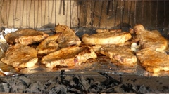 Delicious Meat Prepared on the Grill. Close Up. Stock Footage