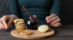 Cookies with jam Stock Footage