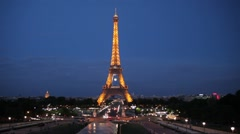 FRANCE, PARIS Light of Eiffel Tower in evening, time-lapse Stock Footage