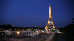 FRANCE, PARIS Light of Eiffel Tower in night, time-lapse Stock Footage