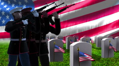 Grave stones with a soldiers and US  flag. Stock Footage