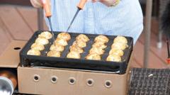 Cooking Takoyaki Stock Footage
