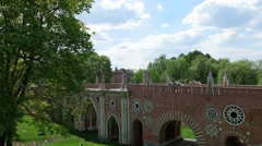 "the Museum-reserve ""Tsaritsyno"" in Моscоw, the big bridge over the ravine - stock footage"
