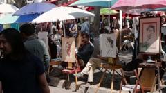 FRANCE, PARIS: Exhibition of talanted painters, Montmartre Stock Footage