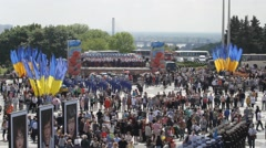 Memorial of World War on Victory parade in Kiev Stock Footage