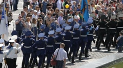 Soldiers marching on Victory parade in Kiev - stock footage