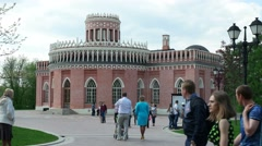 "Historic building of the Museum-reserve ""Tsaritsyno"", people walk Stock Footage"