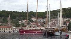 Sailing boats moored in Hvar, Croatia Stock Footage