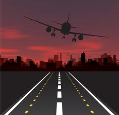 Aircraft is taking off at sunset Stock Illustration