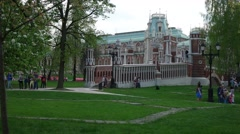 The Palace complex in Tsaritsyno Museum. The Grand Palace.The notched bridge. - stock footage
