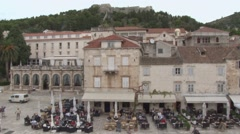 Hvar seen from the terrace of the Arsenal Stock Footage