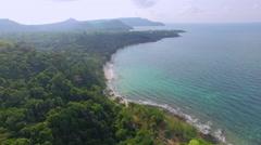 Aerial view of Koh Kood Island coastline - Thailand Stock Footage