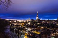 City of Bern by night, Switzerland Stock Photos