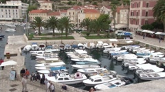 The marina and old town of Hvar in Croatia Stock Footage