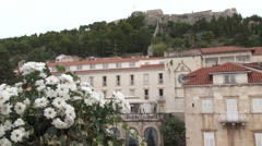 View of the old town and castle of Hvar, Croatia - stock footage