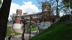 The historical Park Tsaritsyno. Fancy bridge. People. Sunny Stock Footage