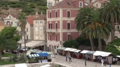 Old town of Hvar in Croatia seen from the terrace of the Arsenal Stock Footage