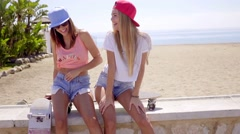 Two laughing friends in shorts sitting near beach Stock Footage