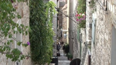 Old narrow streets and steps of Hvar, Stock Footage