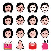 Skin problems - acne, spots treatment icons set Stock Illustration