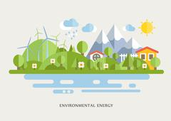 Wind Turbins In Countryside Lined Illustration Stock Illustration