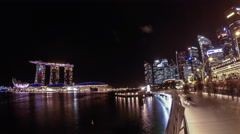 Time-lapse of Marina Bay Sands Light Show at Night Stock Footage
