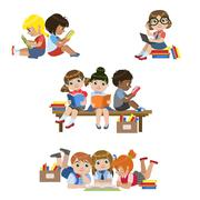 Kids Reading Books Set - stock illustration