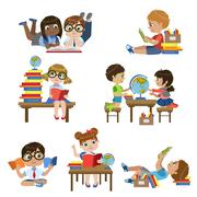 Kinds In Library Set - stock illustration