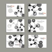Science cover template background with molecules - stock illustration