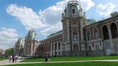 The Grand Palace in Tsaritsyno. North facade.  Museum-reserve  in Моscоw Stock Footage