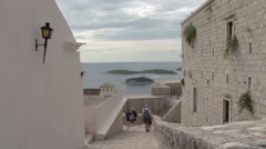 View over the harbour and bay of Hvar in Croatia Stock Footage