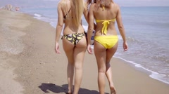 Two shapely young woman wearing bikinis - stock footage