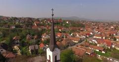 Church top cross Aerial 4K Stock Footage