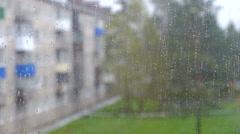 Rain window bad weather Stock Footage