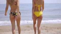 Gorgeous sexy young women wearing bikinis - stock footage