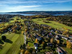 Aerial view of Drobak golf course, Oslofjord, Norway - stock photo