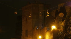 Rome Italy Sneakers and other shoes hanging on wires suspended for laces - stock footage