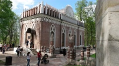 The Museum Tsaritsyno. The Eastern facade of the Petit Palais. Stock Footage