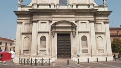 Santa Croce church in Mortara, PV, Italy - stock footage