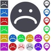 Unhappy icon, button, symbol set - stock illustration