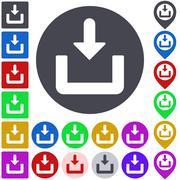 Download icon, button, symbol set - stock illustration