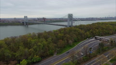 Aerial of Bridge in Fort Lee & Englewood Cliffs Stock Footage