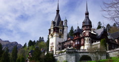 Peles royal castle in Sinaia, Romania. Cloud time lapse, 4k,zoom in Stock Footage